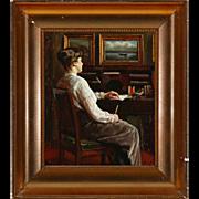 SOPHUS VERMEHREN Oil on Canvas Painting, Woman at her Desk