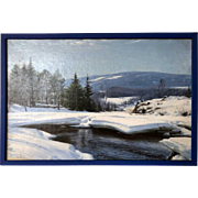 SIGVARD MARIUS HANSEN Oil on Canvas Painting, Winter Landscape