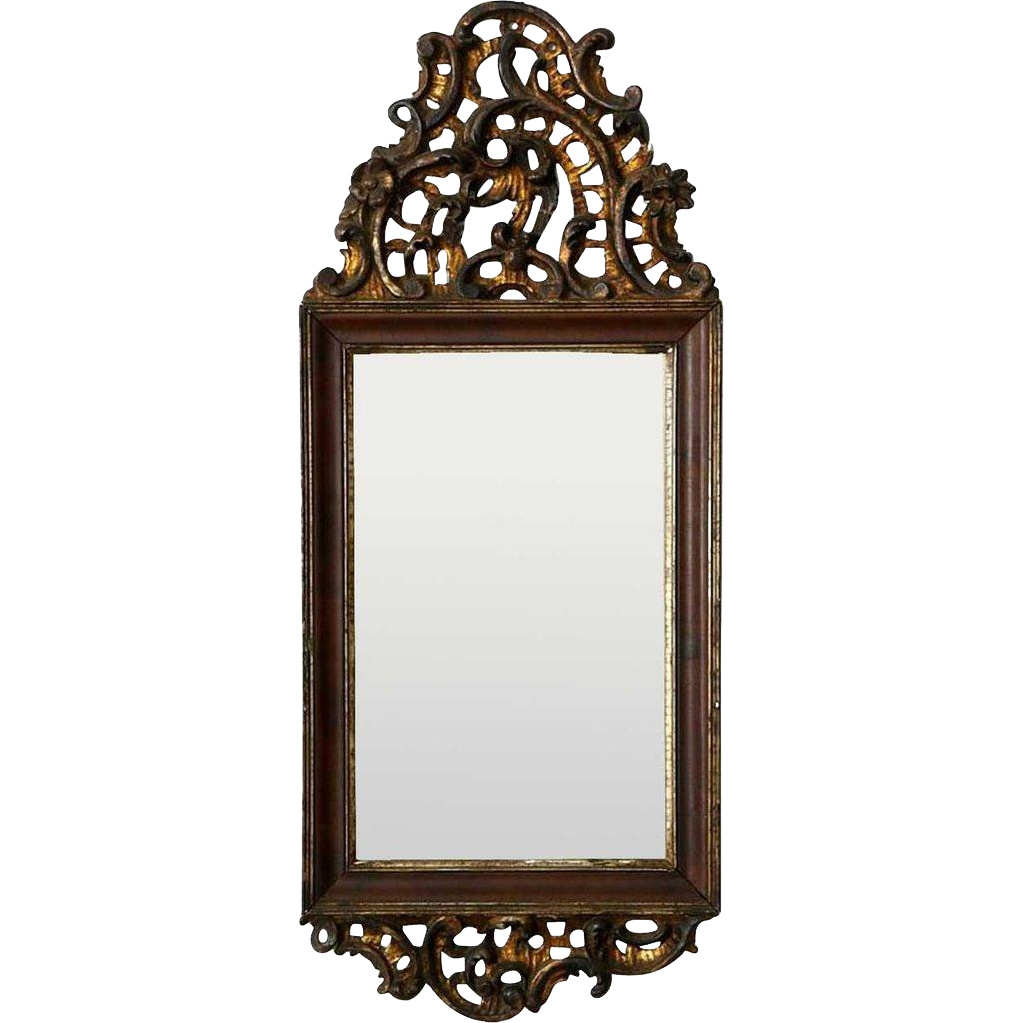 Danish Rococo Parcel Gilt and Walnut Mirror