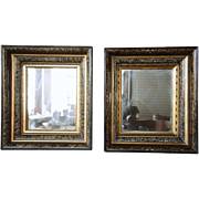 Pair of American Walnut Faux Grain Framed Mirrors