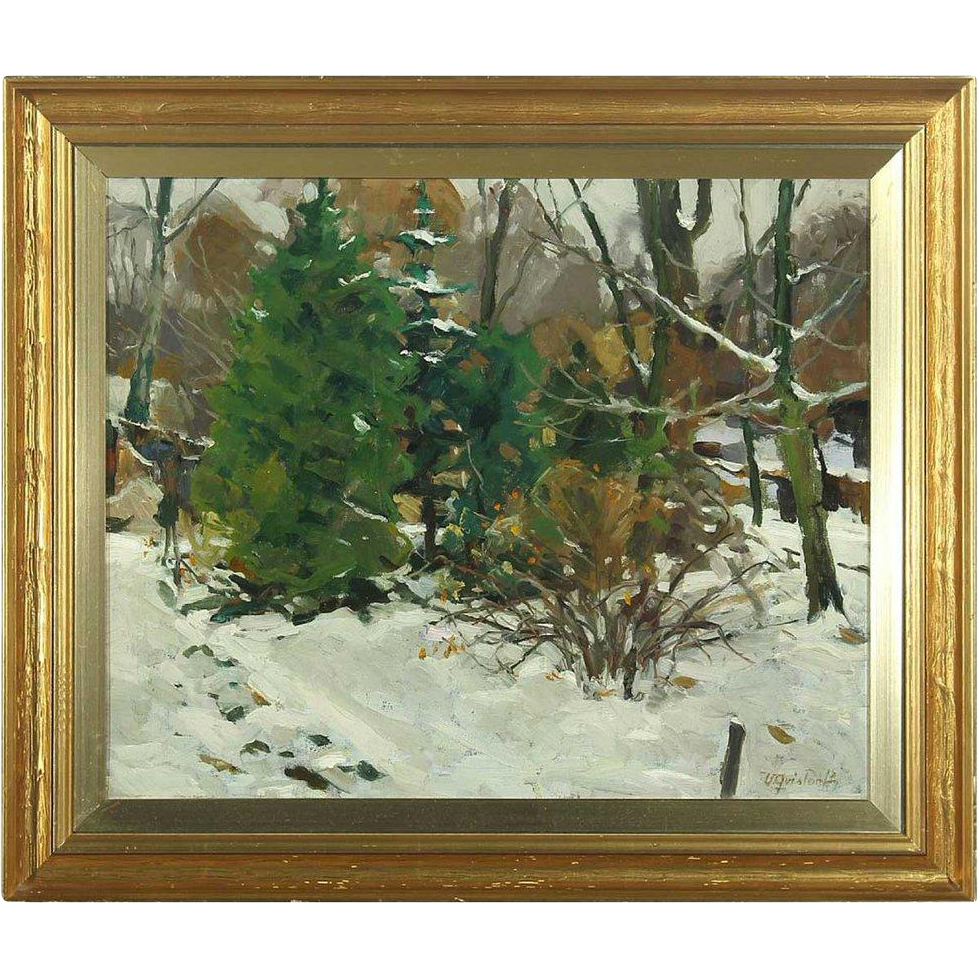 VICTOR QVISTORFF Oil on Canvas Painting, Forest Winterscape