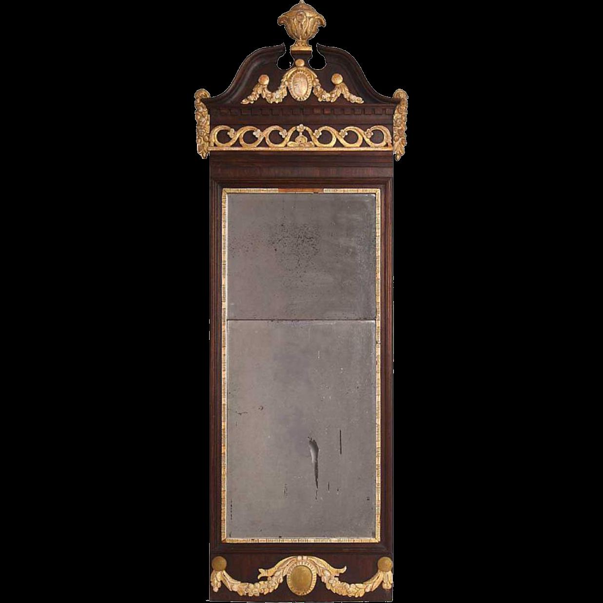 Danish Louis XVI Parcel Gilt Mahogany Framed Pier Mirror