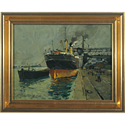 VICTOR QVISTORFF Oil on Panel Painting, Docked Steamship