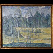 HUGO CARLBERG Oil on Canvas Painting, Spring Landscape