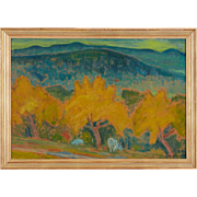 RICHMAN Oil on Board Painting, Mountain Landscape