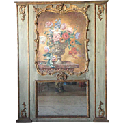 French Louis XV Style Painted Trumeau Boiserie Mirror