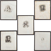 Set of Five Framed British Georgian Period Portrait Lithograph Engravings