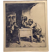 EDMUND BLAMPIED R.B.A., R.E. Drypoint Etching, Soup Drinkers