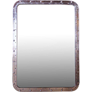 Medium Vintage Aluminum Framed Ship's Window as a Mirror