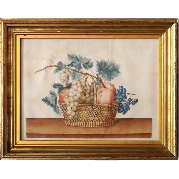 Antique American Watercolor New England  Theorem Painting, Still Life with Fruit Basket