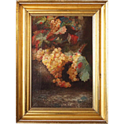 American QUINLAN Oil on Canvas Painting, Still Life with Grapes