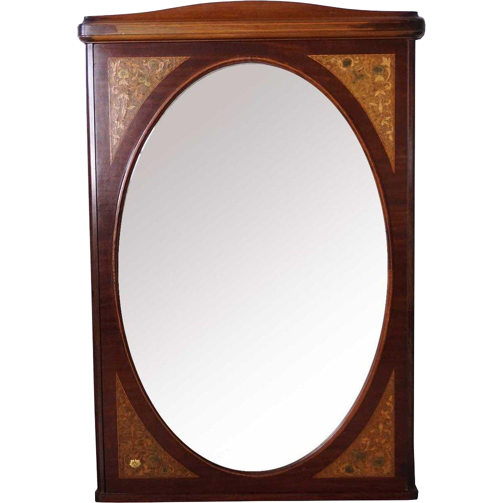 French Beaux Arts Inlaid Satinwood and Mahogany Mirror