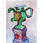 MARTHA DANIELS Watercolor, Pencil and Gouache Drawing, Urn
