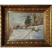 HARALD PRYN Oil Painting on Canvas, Winter Landscape