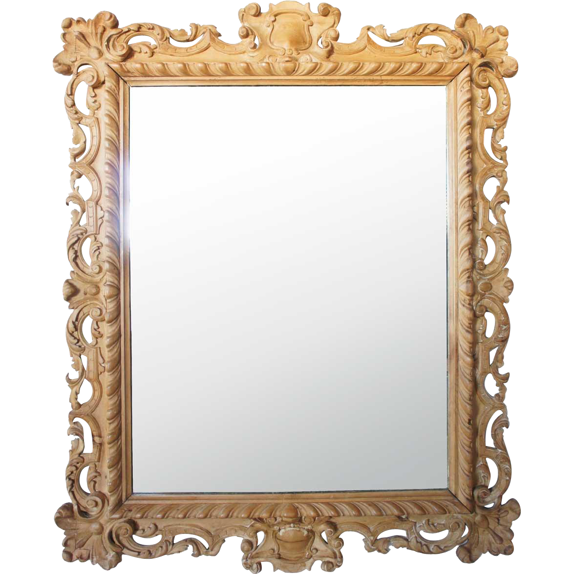 Large Italian Rococo Style Hand Carved Pine Mirror