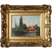 ARCHIBALD KAY Oil on Canvas Painting, Iffley Mill on the Thames