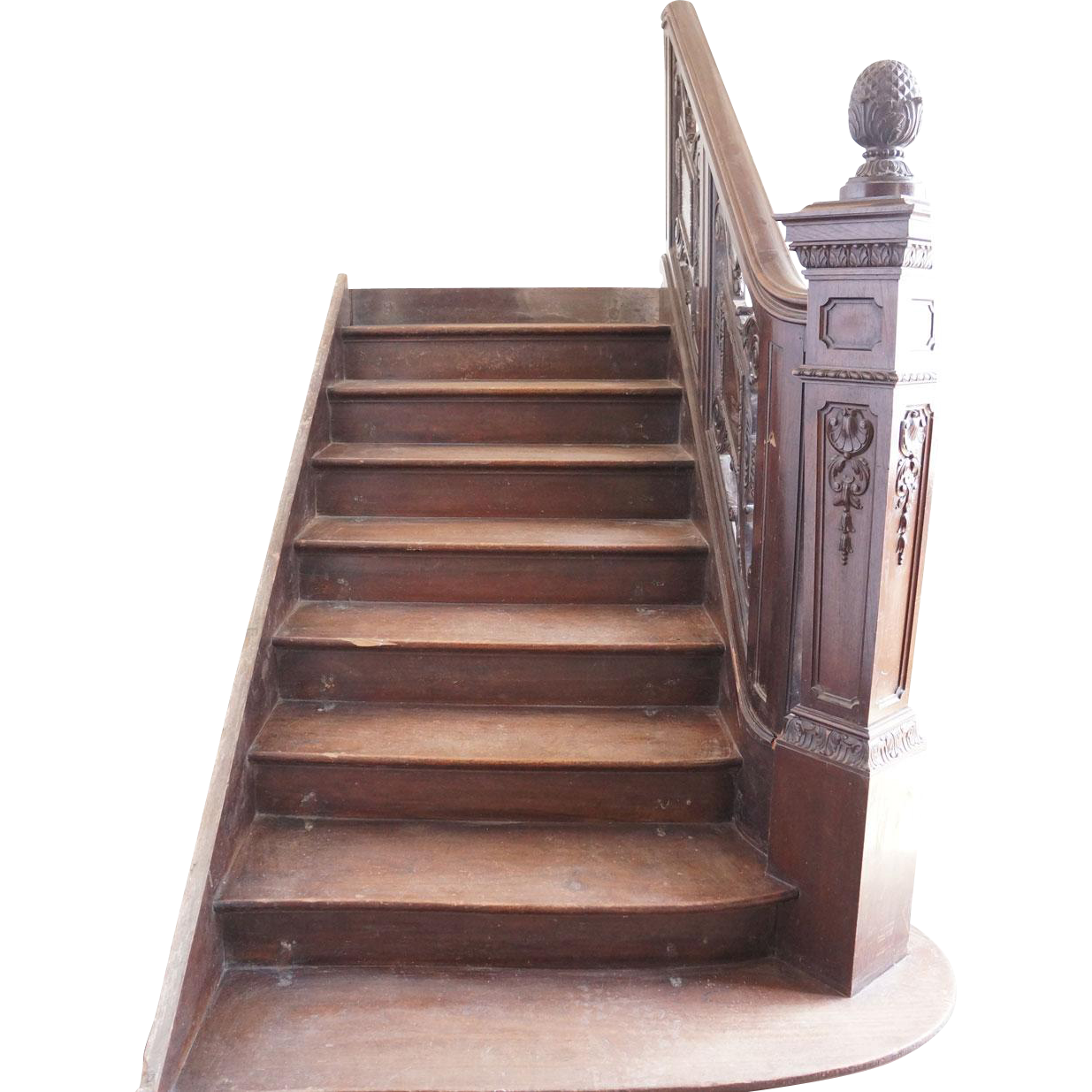 Argentine Baroque Revival Solid Mahogany Staircase