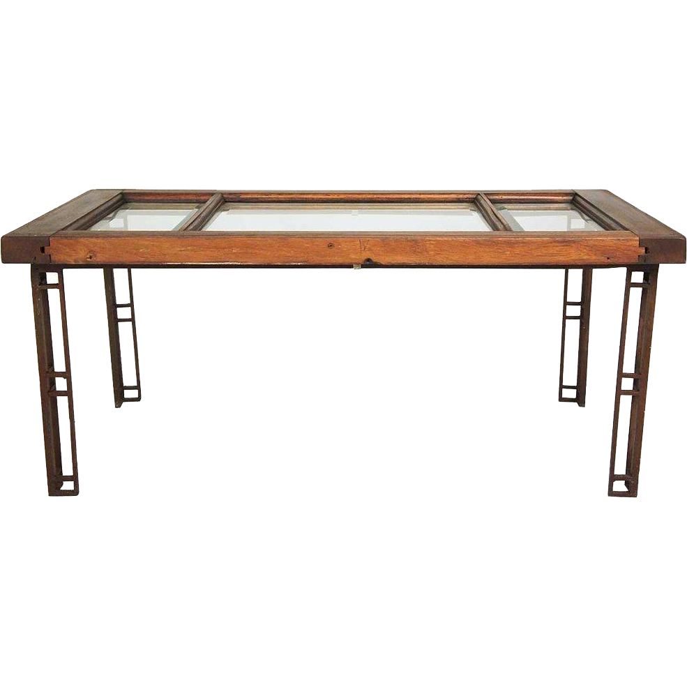 American Craftsman Mahogany Beveled Glass and Iron Coffee Table