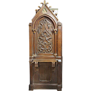 French Gothic Revival Oak Entrance Shelf