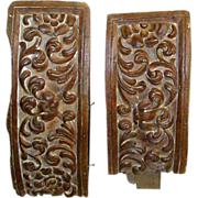 Two Hand Carved Curved 1600s  Baroque Indo-Portuguese Teak Altar Fragments