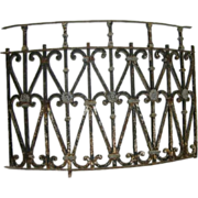 French Wrought Iron and Cast Zinc Bowfront Balcony Railing