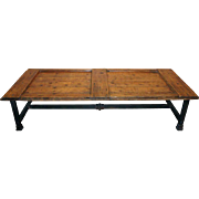 Large French Farmhouse Pine Door and Iron Base Coffee Table