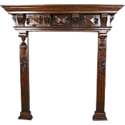 Belgian Renaissance Revival Oak Fireplace Surround 1870