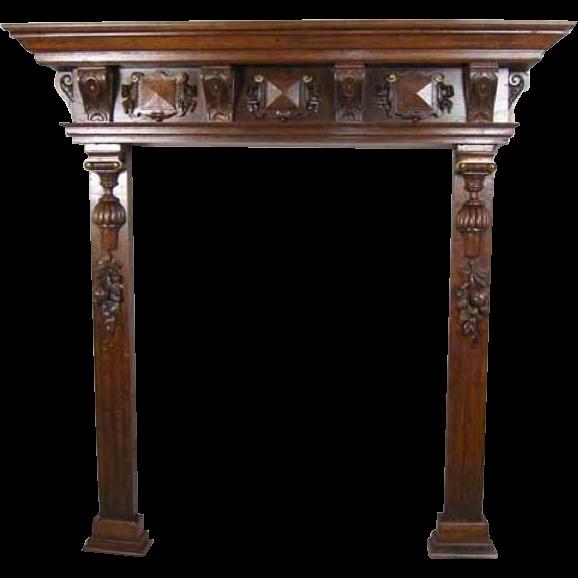 Belgian Renaissance Revival Oak Fireplace Surround 1870