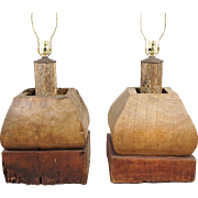 Pair of Large Indian Teak Pillar Capitals as Table Lamps