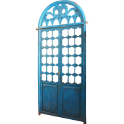 Indo-Portuguese Blue Painted Solid Teak Double Door and Transom