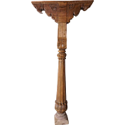 Indian Teak Architectural Pillar Column with Brackets