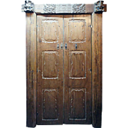 Indian Teak Paneled Double Door and Frame