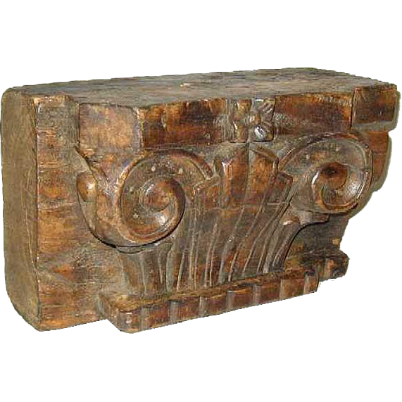 Anglo Indian Art Deco Teak Pilaster Capital