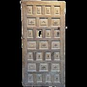 Early Spanish Walnut and Chestnut Diamond Paneled Single Door