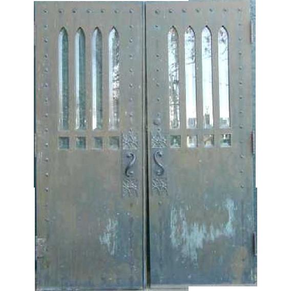 American Gothic Revival Bronze Clad Solid Oak Double Door