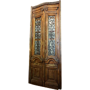 Large French Solid Mahogany and Wrought Iron Double Door Entry