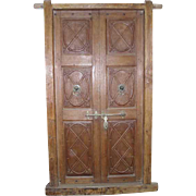 Indo-Portuguese Teak Paneled Double Door and Frame