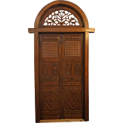 Indo-Portuguese Teak Double Door with Frame and Arched Transom
