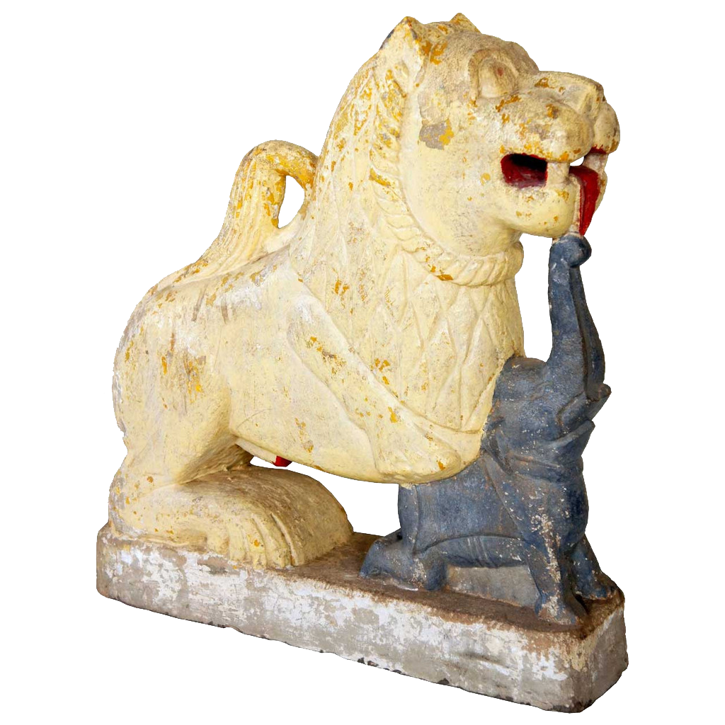 Indian Painted Limestone Vyala Architectural Bracket of a Lion and Elephant