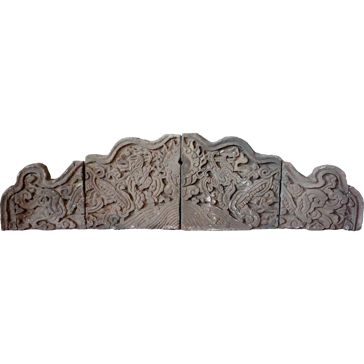 Chinese Shanxi Province Pottery Four-Part Architectural Brick Carving