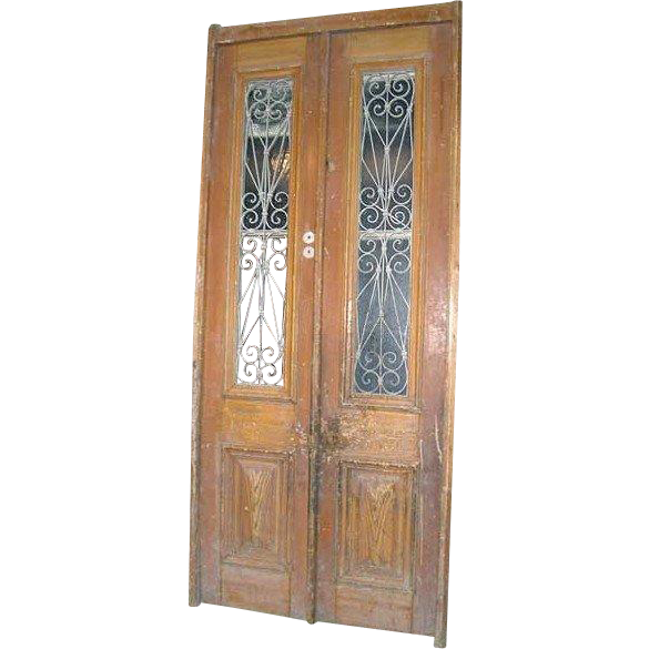 French Colonial Pine and Iron Double Door