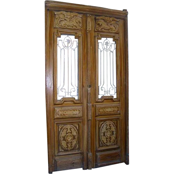 French Colonial Mansion Wrought Iron and Painted Pine Double Door