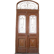 French Colonial Wrought Iron and Painted Pine Double Door, Transom and Frame