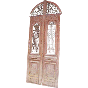 Large French Colonial Painted Pine and Iron Double Door and Transom