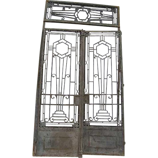 French Colonial Art Deco Wrought Iron Double Door Gates with Transom