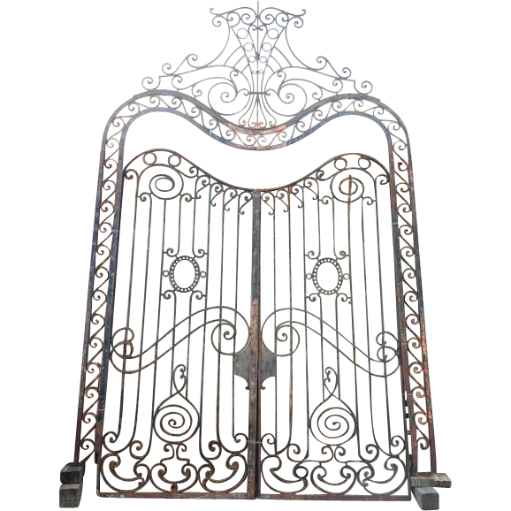Large French Beaux Art Wrought Iron Double Door Gates with Frame and Transom