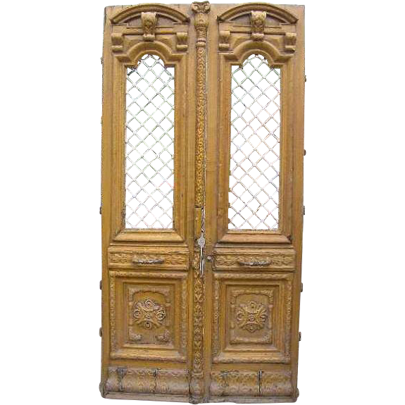 French Colonial Painted Pine and Iron Double Door with Transom