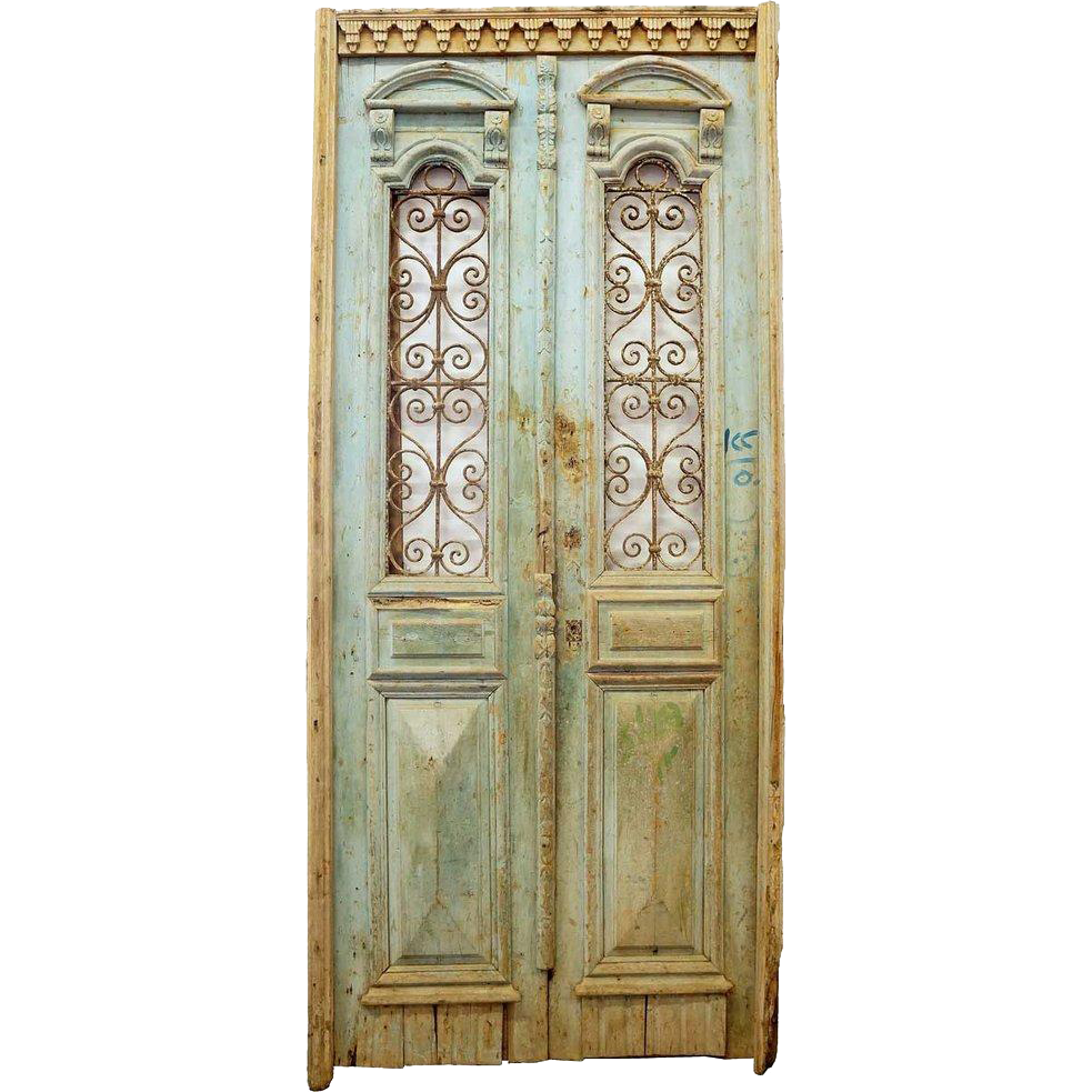 French Colonial Painted Pine and Wrought Iron Double Door