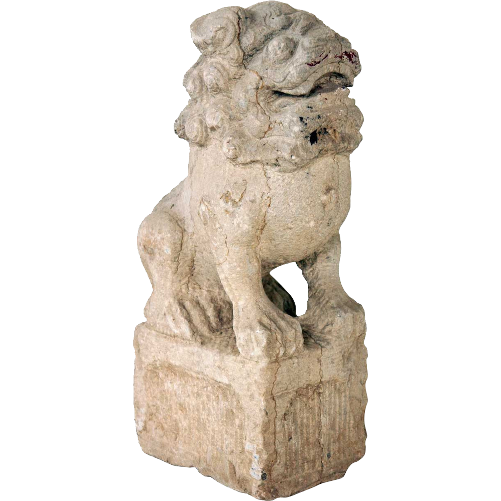 1700s Chinese Shanxi Province Stone Foo Dog Statue