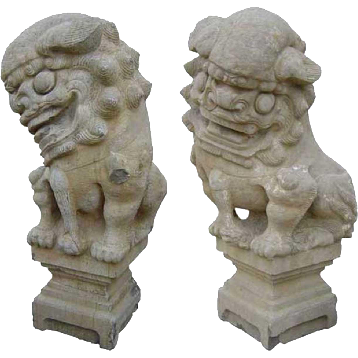 Pair of Large Chinese Shanxi Province Stone Foo Dog Statues